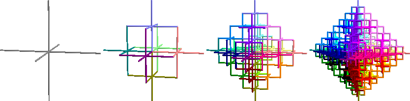 3-D Greek cross fractal stages 1 through 4