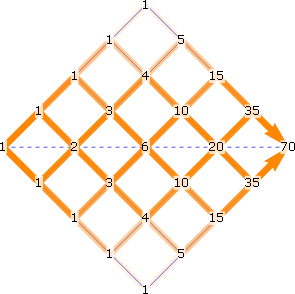 all paths through 4-by-4 lattice superimposed