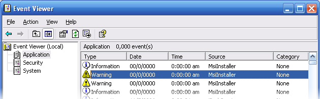 events in Application section