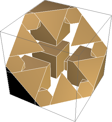 asterisk-shaped hole in diagonal slice of cross Menger cube
