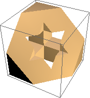 Half Menger sponge, showing hexagon with six-pointed-star-shaped hole